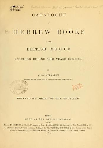 Catalogue of the Hebrew books in the library of the British Museum