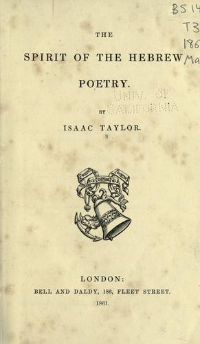 The spirit of the Hebrew poetry.