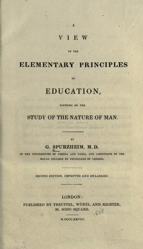 Download A view of the elementary principles of education