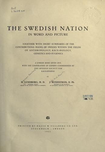 The Swedish nation in word and picture by Herman Bernhard Lundborg