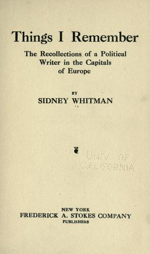 Things I remember by Sidney Whitman