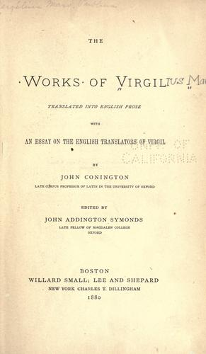 The works of Virgil by Publius Vergilius Maro