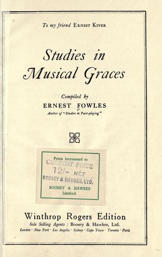 Studies in Musical Graces by Ernest Fowles