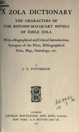 A Zola dictionary by J. G Patterson